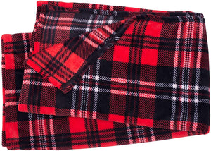 Red and White Plaid Fleece Blanket - Tapestry Girls