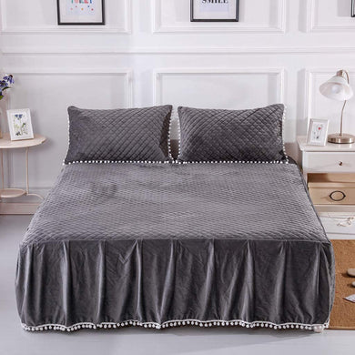 Softy Dark Gray Bed Skirt - Tapestry Girls