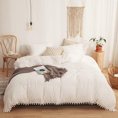 The Softy Pom Pom Beige Bed Set