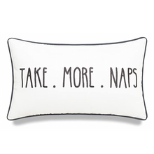 Load image into Gallery viewer, White Take More Naps Pillow - Tapestry Girls