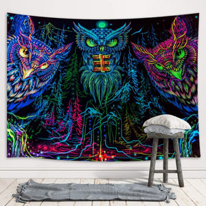 The Psychedelic Owl Tapestry - Tapestry Girls