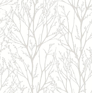 White Treetops Removable Wallpaper - Tapestry Girls