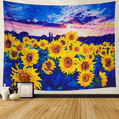 Watercolor Sunflower Tapestry - Tapestry Girls