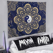 Load image into Gallery viewer, Yin Yang Blue Gold Tapestry - Tapestry Girls