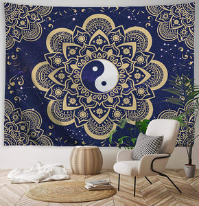 Yin Yang Blue Gold Tapestry - Tapestry Girls