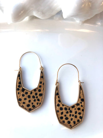 Cheetah Print Hoops