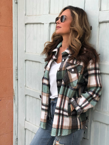 Mint Plaid Shacket