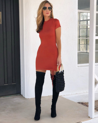 Rust Cinched Dress