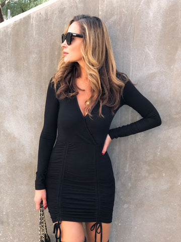 Black Ruched Sweater Dress