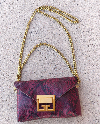 Burgundy Snake Crossbody/Belt Bag