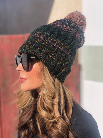 Green Muli-colored Pom Pom Beanie