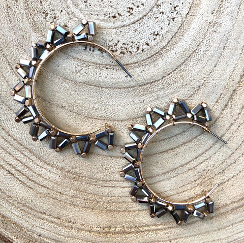 Gray Gem Crystal Hoops