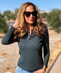 Monona Dark Green Henley