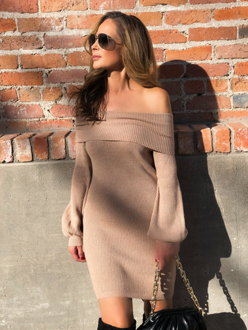Taupe Off The Shoulders Dress