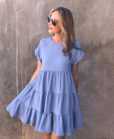 Blue Spring Tapered Dress
