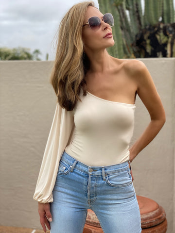 Cream One Shoulder Bodysuit