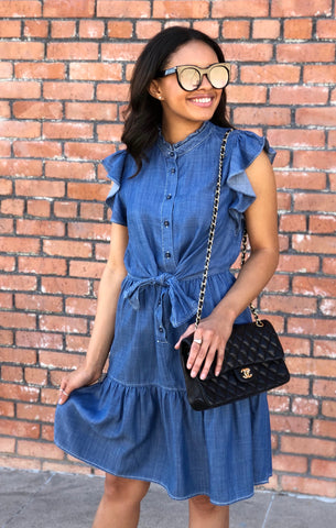 Button Down Ruffle Denim Dress