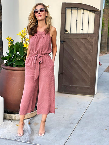 Mauve Textured Jumpsuit