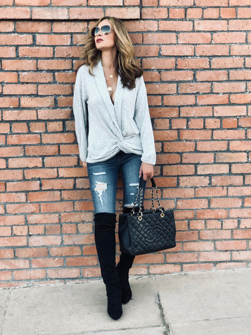Heather Gray Wrap Sweater