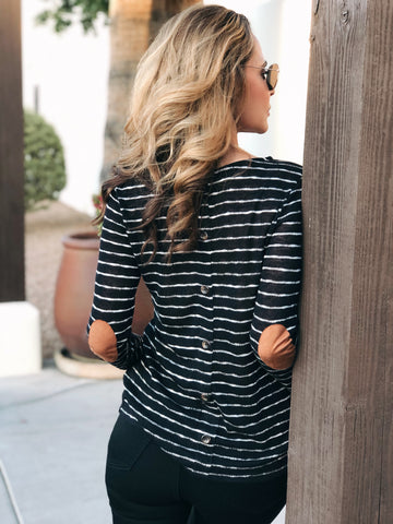 Striped Button Back Long Sleeve Top