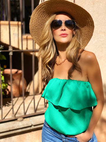 Green Hammered Strapless Top