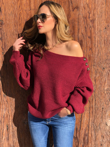 Burgundy Button Sweater