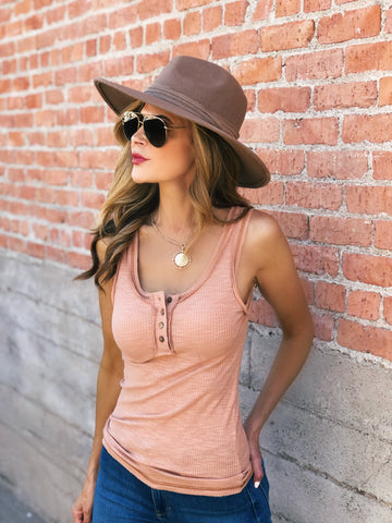 Ginger Ribbed Button Tank