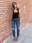 High Rise Blue Boyfriend Jeans