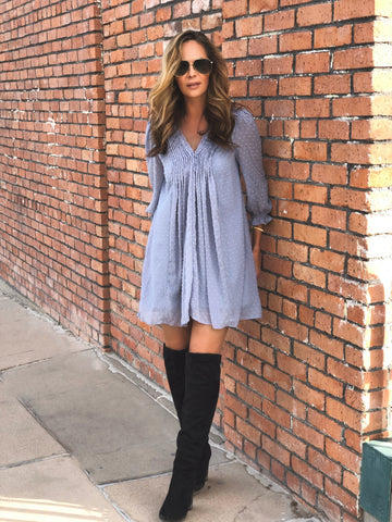Baby Blue Swiss Dot Dress