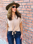 Ivory & Tan Striped Front Tie Top