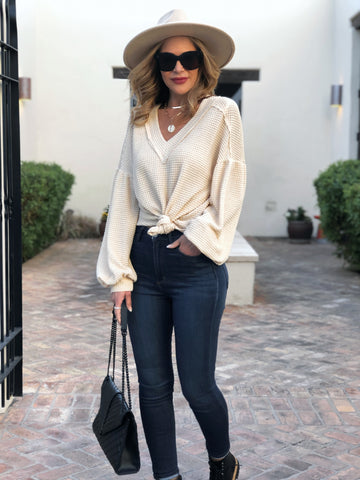 Beige Balloon Sleeved Top