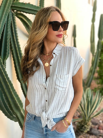Charcoal Striped Button Blouse
