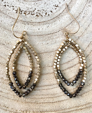 Beaded Gold Layered Earrings