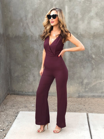Wine Open Back Jumpsuit