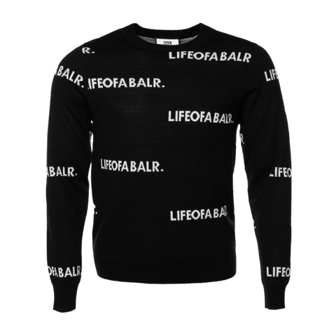 All-Over LIFEOFABALR. Crew Neck Sweater Black