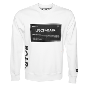 BALR. PATCH STRAIGHT CREW NECK SWEATER WHITE