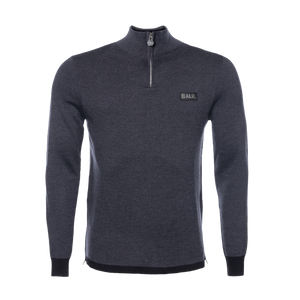 Gun Metal Badge Half-Zip Sweater Grey