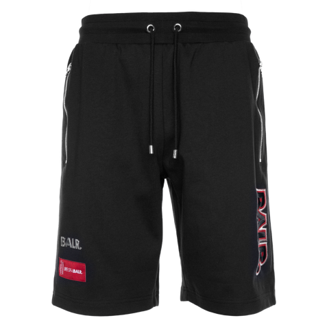 BALR. EMBROIDERED SWEAT SHORTS BLACK