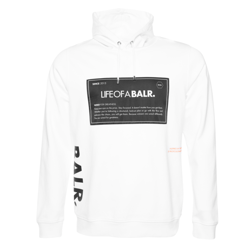 BALR. PATCH STRAIGHT HOODIE WHITE