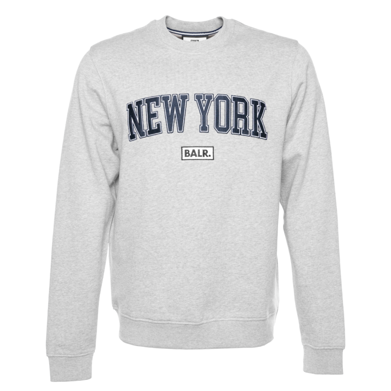 COLLEGE NY LOOSE CREW NECK SWEATER LIGHT GREY