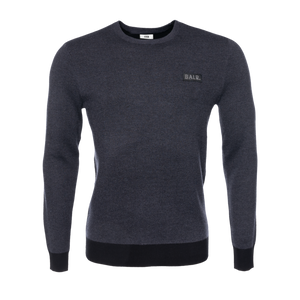 Gun Metal Badge Crew Neck Sweater Grey