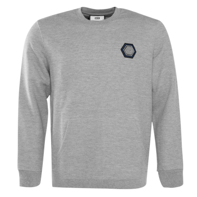 Q-Series Metal Hexagon Badge Crewneck Sweater Grey
