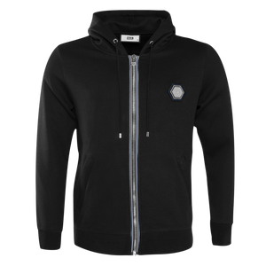 Q-Series Metal Hexagon Badge Zipped Hoodie Black