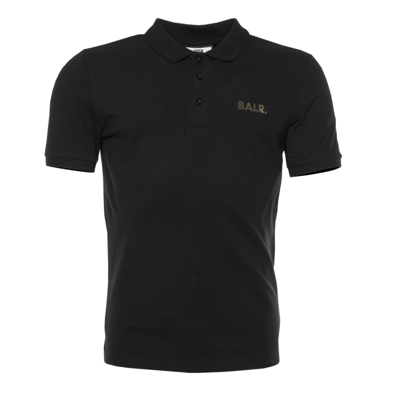 BRAND GOLD METAL LOGO POLO SHIRT BLACK