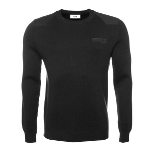 Knitted Hexagon Crew Neck Sweater Black