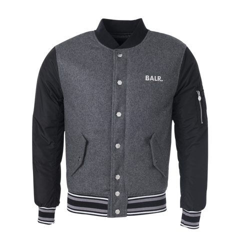 Striped Baseball Jacket Grey