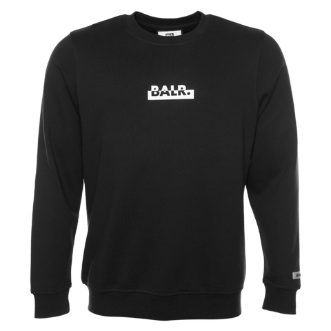 CONTRASTING LOGO STRAIGHT CREW NECK SWEATER BLACK