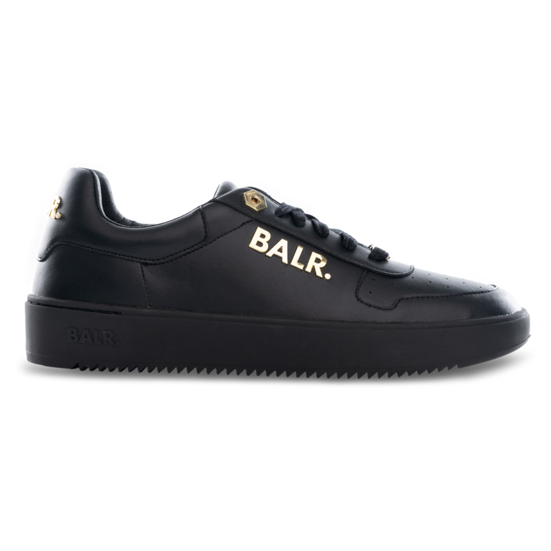 LEATHER CLEAN LOGO SNEAKERS LOW BLACK/GOLD