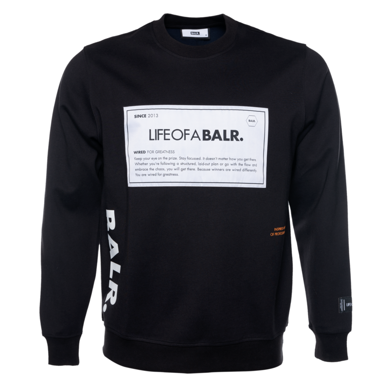 BALR. PATCH STRAIGHT CREW NECK SWEATER BLACK