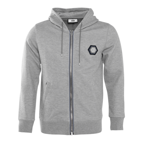 Q-Series Metal Hexagon Badge Zipped Hoodie Grey